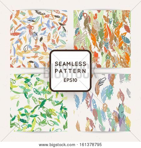 Set of ik feather seamless patterns. Hand drawn doodle vector backgrounds. Decorative design illustration with traced elements.
