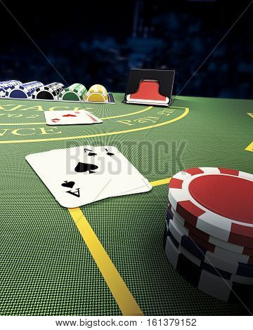aerial view of blackjack casino table - 3D rendering