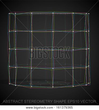 Abstract stereometry shape: Multicolor sketched Cylinder with Transparent Shadow. Hand drawn 3D polygonal Cylinder. EPS 10, vector illustration.