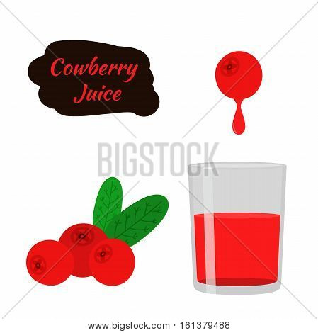 Cowberry lingonberry in flat vector style. Sweet red forest berry. Berry juice. Cranberry.