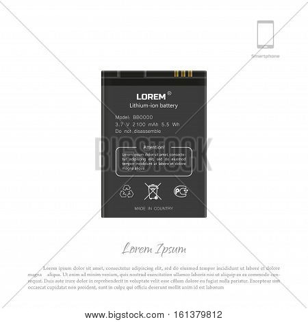 Smartphone battery on a white background. Lithium mobile phone accumulator. Vector illustration