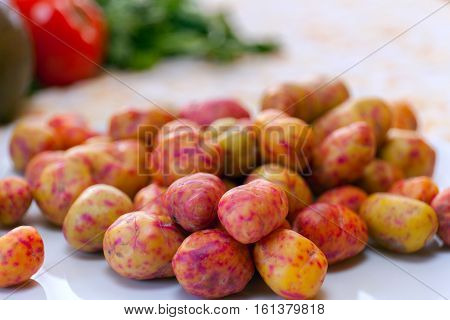 Oca tubers Oxalis tuberosa plant was brought into cultivation in the central and southern Andes