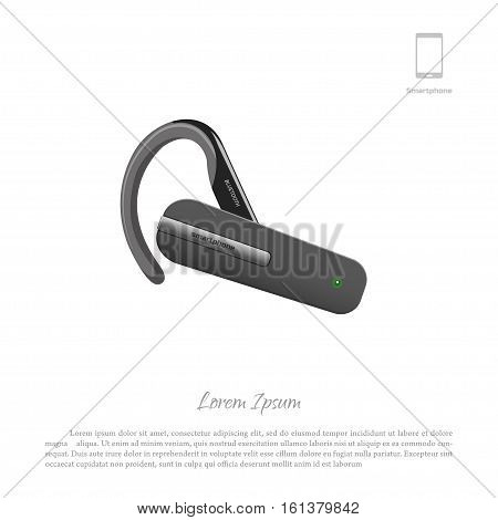 Bluetooth headset. Cell phone accessories. Vector illustration