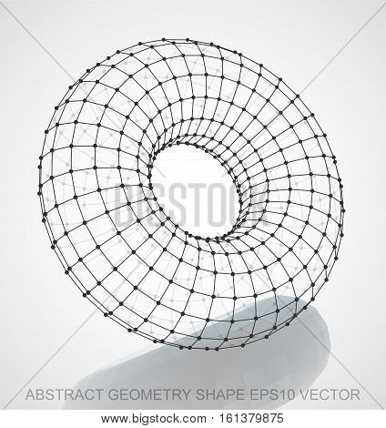 Abstract geometry shape: Black sketched Torus with Reflection. Hand drawn 3D polygonal Torus. EPS 10, vector illustration.