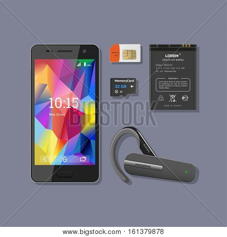 Mobile Phone Accessories. Smartphone with battery headset SIM and memory cards. Vector illustration
