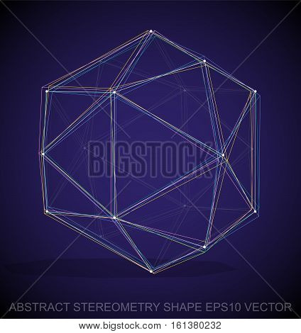 Abstract geometry shape: Multicolor sketched Octahedron with Transparent Shadow. Hand drawn 3D polygonal Octahedron. EPS 10, vector illustration.