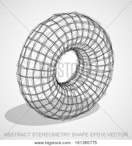 Abstract geometry shape: Ink sketched Torus with Transparent Shadow. Hand drawn 3D polygonal Torus. EPS 10, vector illustration.