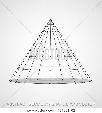 Abstract stereometry shape: Black sketched Cone with Transparent Shadow. Hand drawn 3D polygonal Cone. EPS 10, vector illustration.