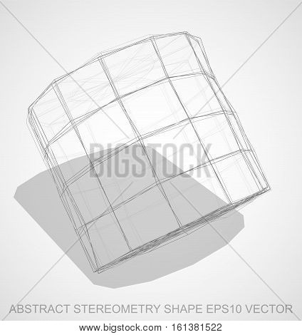 Abstract stereometry shape: Pencil sketched Cylinder with Transparent Shadow. Hand drawn 3D polygonal Cylinder. EPS 10, vector illustration.