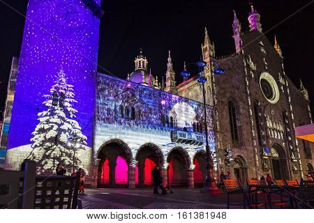 Festive Christmas Decorations On Facades Of Buildings In Como, Italy