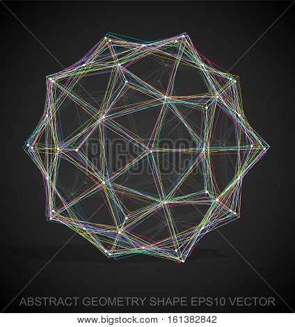 Abstract stereometry shape: Multicolor sketched Dodecahedron with Transparent Shadow. Hand drawn 3D polygonal Dodecahedron. EPS 10, vector illustration.