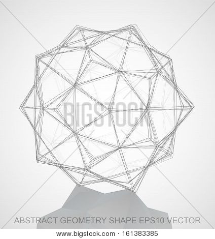 Abstract stereometry shape: Pencil sketched Dodecahedron with Reflection. Hand drawn 3D polygonal Dodecahedron. EPS 10, vector illustration.
