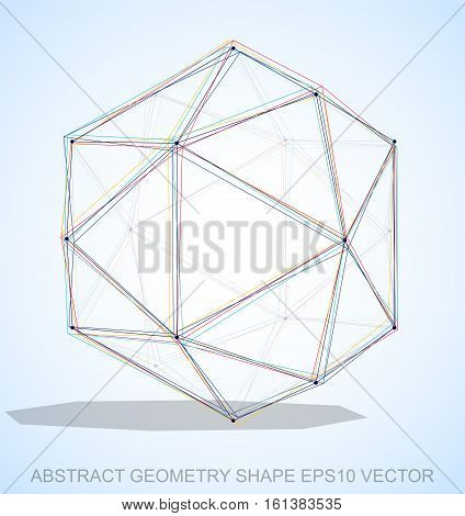 Abstract stereometry shape: Multicolor sketched Octahedron with Transparent Shadow. Hand drawn 3D polygonal Octahedron. EPS 10, vector illustration.