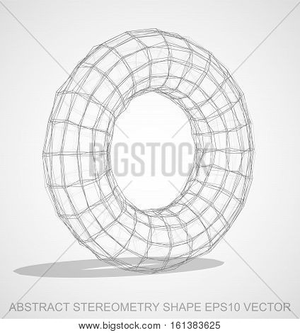 Abstract stereometry shape: Pencil sketched Torus with Transparent Shadow. Hand drawn 3D polygonal Torus. EPS 10, vector illustration.