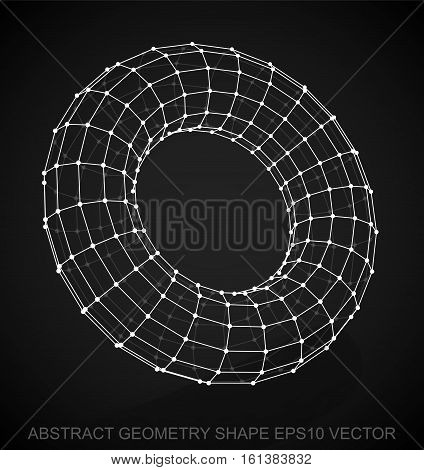 Abstract stereometry shape: White sketched Torus with Reflection. Hand drawn 3D polygonal Torus. EPS 10, vector illustration.