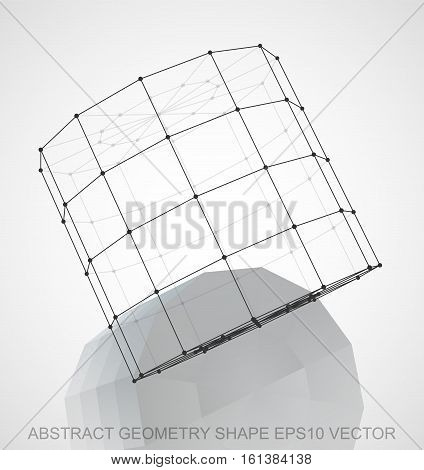 Abstract geometry shape: Black sketched Cylinder with Reflection. Hand drawn 3D polygonal Cylinder. EPS 10, vector illustration.