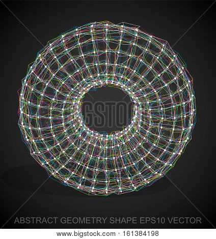 Abstract geometry shape: Multicolor sketched Torus with Transparent Shadow. Hand drawn 3D polygonal Torus. EPS 10, vector illustration.