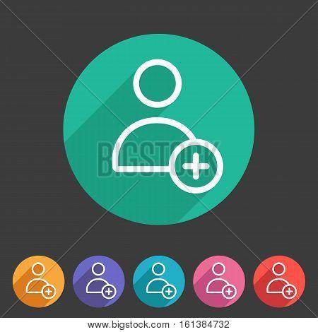 add user avatar icon flat web sign symbol logo label set