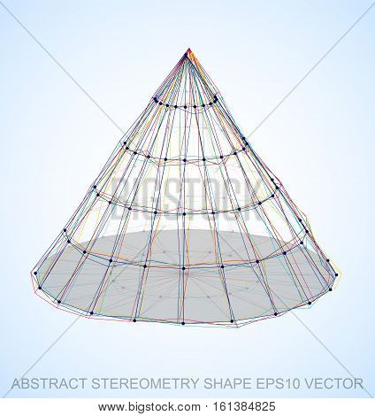 Abstract geometry shape: Multicolor sketched Cone with Transparent Shadow. Hand drawn 3D polygonal Cone. EPS 10, vector illustration.