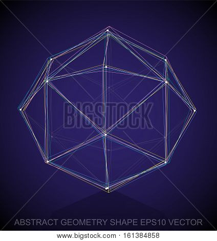 Abstract geometry shape: Multicolor sketched Octahedron with Reflection. Hand drawn 3D polygonal Octahedron. EPS 10, vector illustration.