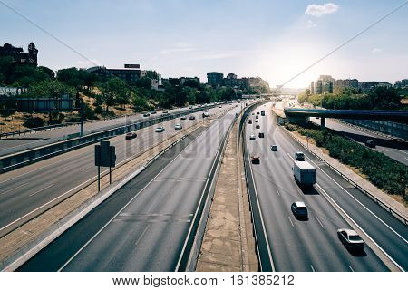 Madrid Spain - September 10 2016: M-30 Madrid highway with sunlight on background
