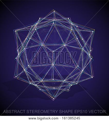 Abstract geometry shape: Multicolor sketched Dodecahedron with Transparent Shadow. Hand drawn 3D polygonal Dodecahedron. EPS 10, vector illustration.