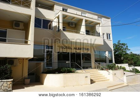 Sivota GREECE May 09 2013: View on the modern hotel building on the coast of Ionian Sea in Greece.
