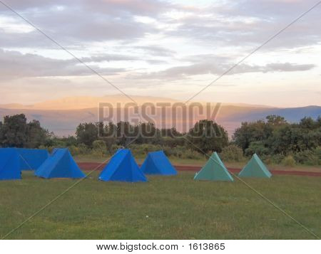 Tent Camp At The Sunset In The African Savanna, Ngorongoro Park, Tanzania