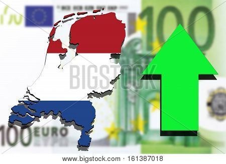 Holland Map On Euro Money Background And Green Arrow Rising