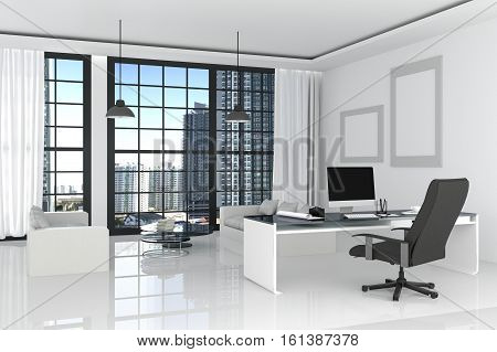 3D Rendering : Illustration Of Modern Interior White Office Of Creative Designer Desktop With Pc Com