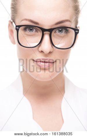 Successful business woman in glasses with arms crossed. isolted on white