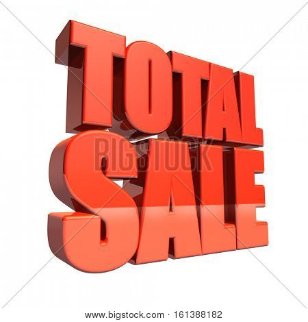 Red total sale 3D text isolated on white background. 3D illustration.