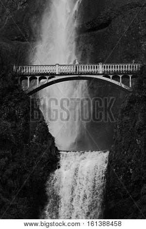 The largest waterfall in Oregon Multnomah Falls has a pedestrian crossing a bridge halfway to the top of the falls.