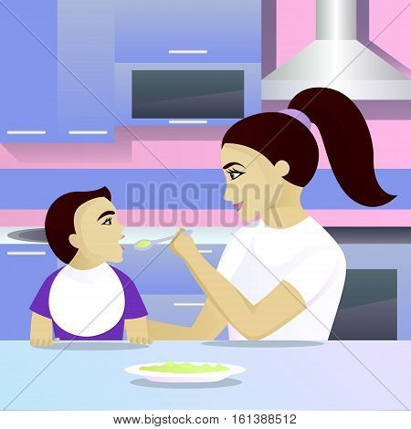 Mother feeding child in kitchen vector illustration