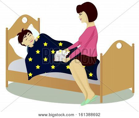 Mother reads book to child and he slept vector illustration
