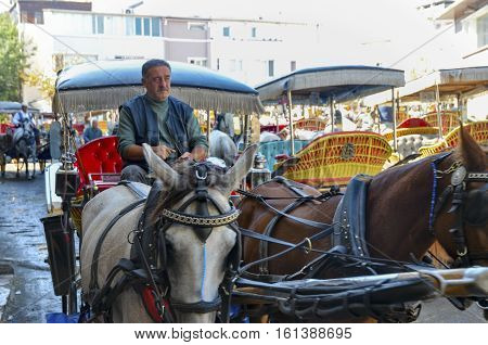 Istanbul Turkey - September 29 2013: Phaeton Horse Passenger waiting area. Coachman Horse Carriage Ride. Buyukada Princes Islands also known as Istanbul is the largest of the islands off the coast. Buyukada motor vehicle is not being used such as Phaeton
