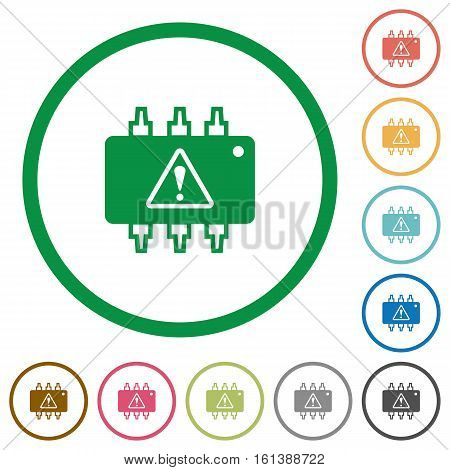 Hardware malfunction flat color icons in round outlines