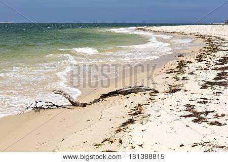 Unspoiled water and white sand at Rainbow Beach in Queensland Australia