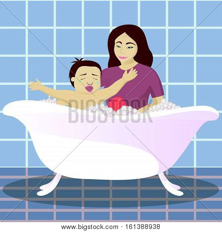 Mother washes crying child in bathroom vector illustration