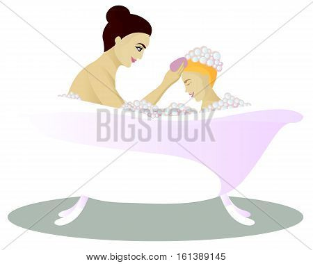 Mother washes with child isolated on white vector illustration