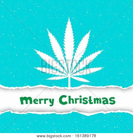 Cannabis hemp marijuana congratulation. Text Merry Christmas on white and blue torn paper background. Smoke hashish narcotic silhouette