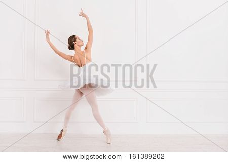 It is wonderful. Sporty elegant ballet dancer standing on tiptoes keeping both arms upwards looking aside