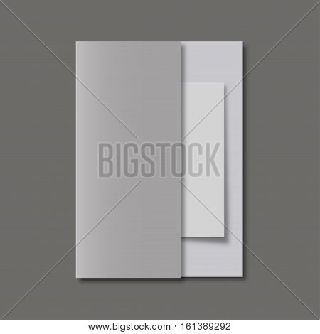 Brochure With Realistic Shadow On A Gray Background