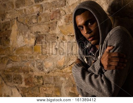 Addict, breaking, pain, depression, drama, illness. Drug addict looking dependent from different types of drugs. Drugs concept
