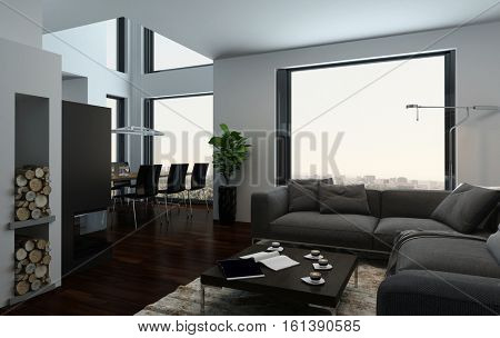Large luxury open plan living and dining room interior with double volume spaces, large view windows and stylish furniture in a condominium or penthouse, 3d rendering