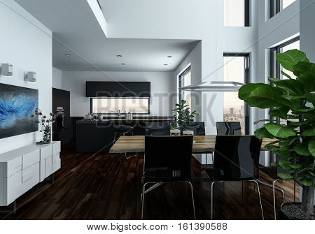 Large open plan double volume living room interior with houseplants and a dining suite in front of large view windows with cityscape, 3d rendering