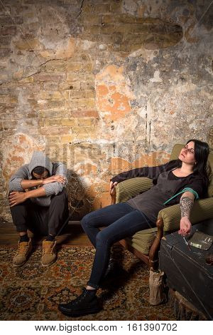 Man and woman with AIDS resting and relaxing. Disease concept. Drugs concept. Drug addict sleeping after taking drugs.