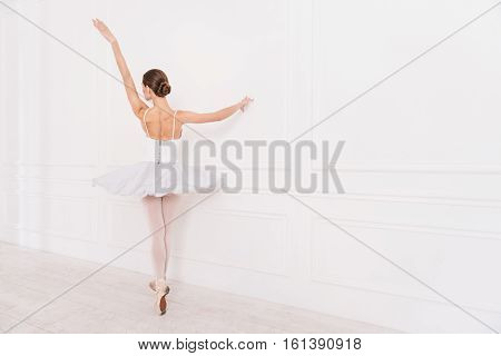 Begin with me. Slim and tender dancer posing sideways keeping straight arms while standing on tiptoes