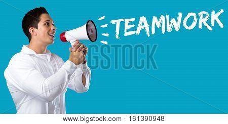 Teamwork Team Working Together Business Concept Success Young Man Megaphone