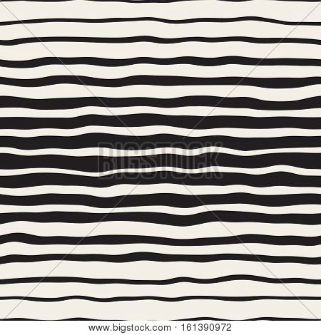 Wavy Ripple Hand Drawn Gradient Lines. Abstract Geometric Background Design. Vector Seamless Black and White Pattern.